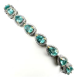 Natural Pear Neon Green Apatite 92 Carats Bracelet