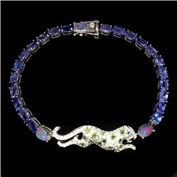 Natural Tanzanite C-Diopside Fire Opal Tiger Bracelet