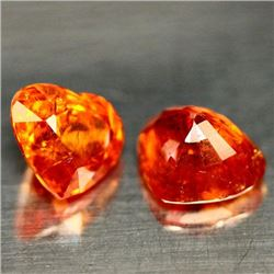 Natural Orange Spessartite Garnet Heart Pair 4.18 Ct