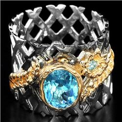 Natural Swiss Blue Topaz Stylish Ring