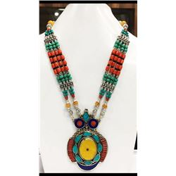 Tibet Hand Made Amber Turquoise, Coral, Lapis Lazuli Necklace