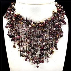 Natural Handmade Fancy Tourmaline Pearl Crystal Necklac