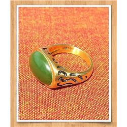 Antique Natural Jade & Solid Gold (Heavy) Ring