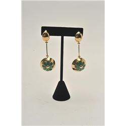 "18BZ-10 DANGLE EARRINGS14KT dangle earrings with enamel. 1960's  ""Breakfast at Tiffany's"" style. Est"