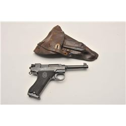 18AJ-1 HUSQAVARNA #10215Husqavarna semi-automatic pistol, 9mm  caliber, blued finish, checkered blac
