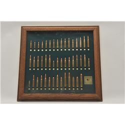 18BG-19 TATONKA CART. BULLET BOARDFramed Tatonka cartridge Co. bullet board  displaying cartridges f