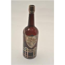 EE-4 19TH CENTURY BACK BAR BOTTLE19th century back bar bottle with overlaid  silver on amber blown g