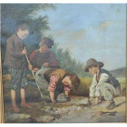 EVE-31 OIL ON CANVASOriginal oil on canvas of Scottish boys  fishing. 19th century. Measures approxi