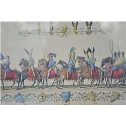 EVE-32 4-LITHOGRAPHSSuite of 4 hand colored lithographs of  knights with identity of crests under  s