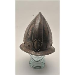 "18AT-15 PORTUGESE HELMET16th-17th century black and white cabaset  measuring almost 10"" thigh crown."
