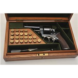 18BL-7 ADAM REVOLVERBeautiful Cased Adams & Co. revolver, .455  caliber, Serial #4032.  The pistol i