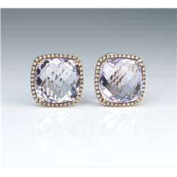 18CAI-9 AMETHYST & DIAMOND EARRINGSGorgeous earrings featuring two checkerboard  cut Amethyst weighi