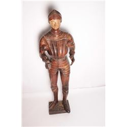 "EVE-2 CARVED & PAINTED KNIGHT18th Century carved and painted jesso figure  of life size (68"" tall) k"