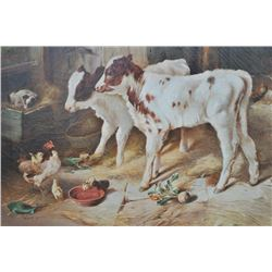 EVE-10 ORIGINAL OIL PAINTINGFine original oil painting of barn scene  depicting calves, chicks and s