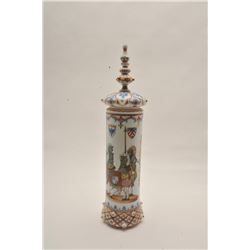 EVE-72 ART GLASS COVERED URN19th Century art glass covered urn with  scenes of knights in armor with