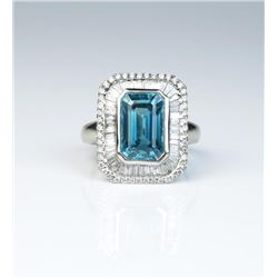 18CAI-6 BLUE ZIRCON & DIAMOND RINGExquisite ring featuring a Fine Blue Zircon  weighing approx. 5.74
