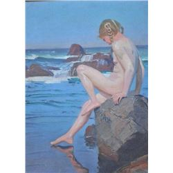 EVE-35 OIL ON CANVASOil on canvas signed lower right in long  illegible signature. Shows young nude