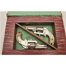 18CF-1 BOOK CASED PAIR OF M&HPair of Merwin & Hulbert Pocket Army  revovlers engraved, nickel plated