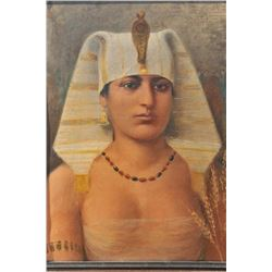 EVE-18 OIL ON CANVAS19th to early 20th century oil on canvas of  Egyptian princess in vintage origin