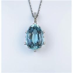 18CAI-2 AQUAMARINE PENDANTExceptional Platinum pendant featuring a fine  Pear shape Aquamarine weigh