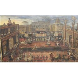 EVE-47 OIL PAINTINGImpressive original oil painting of a joust  showing nobles, knights, horses, arm