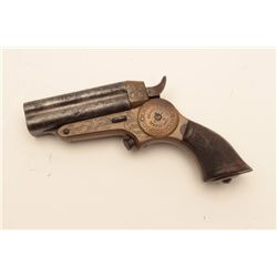 "18CF-4 ENGRAVED STARR DERRINGERRare period engraved Starr 4 barrel ""Button  Trigger"" derringer in .3"