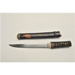 18CF-17 TANTOFully and finely mounted Japanese tanto with  old family blade. 19th century soft metal