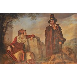 "EVE-17 OIL ON CANVAS18th century oil on canvas showing gypsies.  Measures approximately 17 ½"" x 21 ¼"