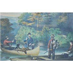"EVE-27 CURRIER AND IVES PRINTCurrier and Ives print (Hand Colored) and  titled ""Life in the Woods"" """