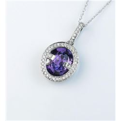 18CAI-50 AMETHYST & DIAMOND PENDANTGorgeous designer pendant featuring a center  Amethyst and pave s
