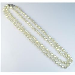 18CAI-51 PEARL NECKLACEElegant Vintage style cultured pearls  averaging 6.00 MM in diameters of a fi