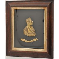 "18AI-1 BRONZE OF WELLINGTONFramed bronze gold gilted half bust of  Wellington; approximately 23"" x 1"