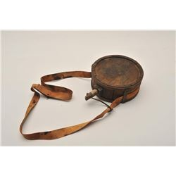 18AL-5 WOOD CANTEENAmerican handmade wood canteen with fabric  strap possibly confederate. Iron stra