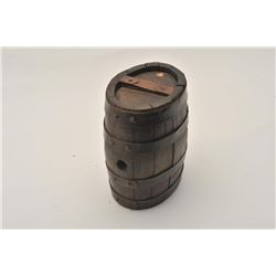 "18AL-6 BBL CANTEENAmerican barrel canteen from revolution to  Mid-19th century. Measures 7 ¼"" x 6 ¼"""