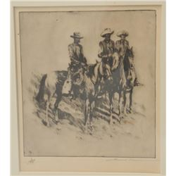 18AL-81 ORIGINAL BOREIN ETCHINGOriginal Borein etching of 3 horsemen –  remarked with vignette of ma