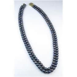 18CAI-33 BLACK PEARLSElegant double strand of Black Pearls  averaging 6.00 MM in diameters on a 14 k