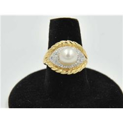 18RPS-26 PEARL & DIAMOND RINGOne 14k yellow gold ring set with a fine 8mm  akoya pearl and diamonds