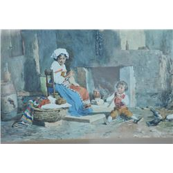 "EVE-16 WATERCOLOR SIGNEDExcellent 19th century watercolor signed  lower right ""R. Maghelli"". Measure"