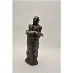 "18CA-18 CAST CERAMIC SCULPTUREHeavy cast ceramic sculpture of Indian brave  with robes signed ""On Be"