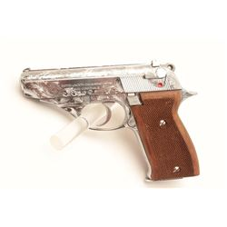 18BM-65 ASTRA CONST.Astra Constable engraved .22 LR chromed semi  automatic pistol, #1258416, 3 1/2""