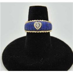 18RPS-24 LAPIS LAZULI RINGOne 14k yellow gold ring inlay-ed with ribbed  lapis lazuli with a heart s