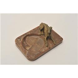 EVE-49 BRONZEEarly 20th century bronze greyhound or  whippet on marble ash tray. Bronze measures 2