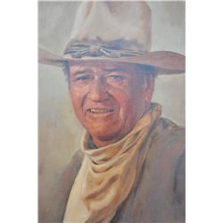 18AP-77 OIL SIGNED OF JOHN WAYNEFinely accomplished framed original oil on  canvas painting of John