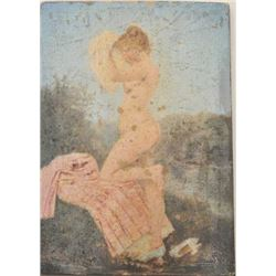 18BW-8 NUDE PAINTINGSmall signed 19th century painting of a nude  woman on walnut panel: 100-200
