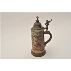 "EVE-12 LG SIZE ETCHED STEIN19th to early 20th century large size etched  stein marked ""H.R."" and ""#"