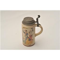 "EVE-11 GERMAN STEINFine German stein signed artwork ""Henry  Schlitt"" of men drinking and tavern with"
