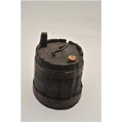 18AL-7 REV. WAR CANTEENRevolutionary War era canteen with spout.  Pewter and forged iron mounts. Mea