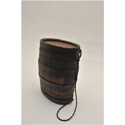 "18AL-8 BBL CANTEENAmerican barrel canteen from revolution to  mid-19th century. 10"" x 7"". No spout."