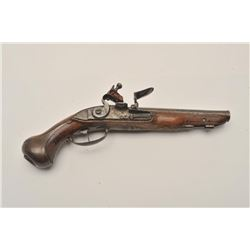 "18AR-40 FRENCH FLINTLOCKFrench flintlock pistol, approximately 11""  overall with a 6"" barrel, wood s"