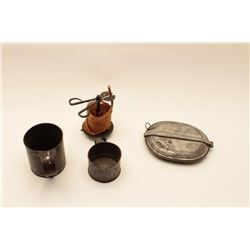 "18AL-30 MISC. LOTMisc. lot including two different size tin  cups, a tin mess kit and a wax ""jack"" w"